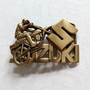 Vintage Solid Brass Suzuki Motorcycle Belt Buckle